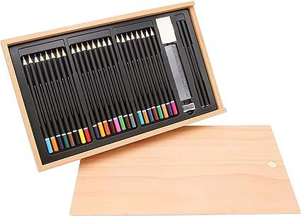 Juego de 30 lápices en caja de madera, madera de haya FSC®, caja ...