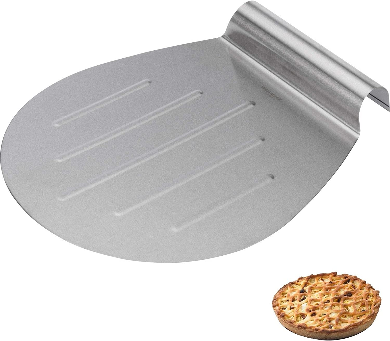 33 * 16.5cm plata acero inoxidable, mango de madera, pala redonda xnbnsj Pala para pizza
