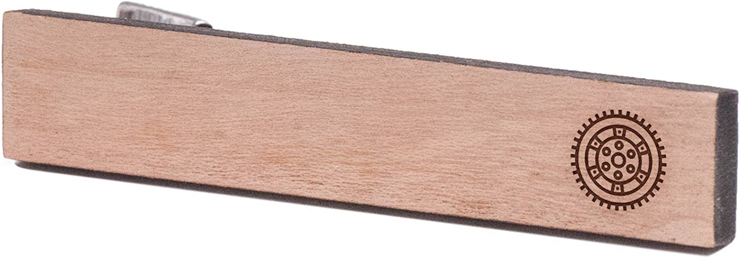 Cherry Wood Tie Bar Engraved in The USA Wooden Accessories Company Wooden Tie Clips with Laser Engraved Flywheel Design