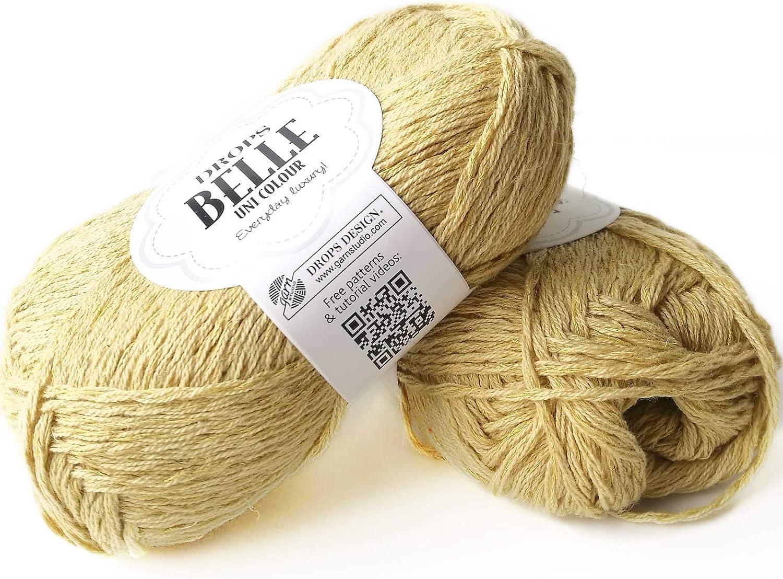 Ovillo de hilo de algodón, viscosa y lino, caída Belle, DK, peso ...