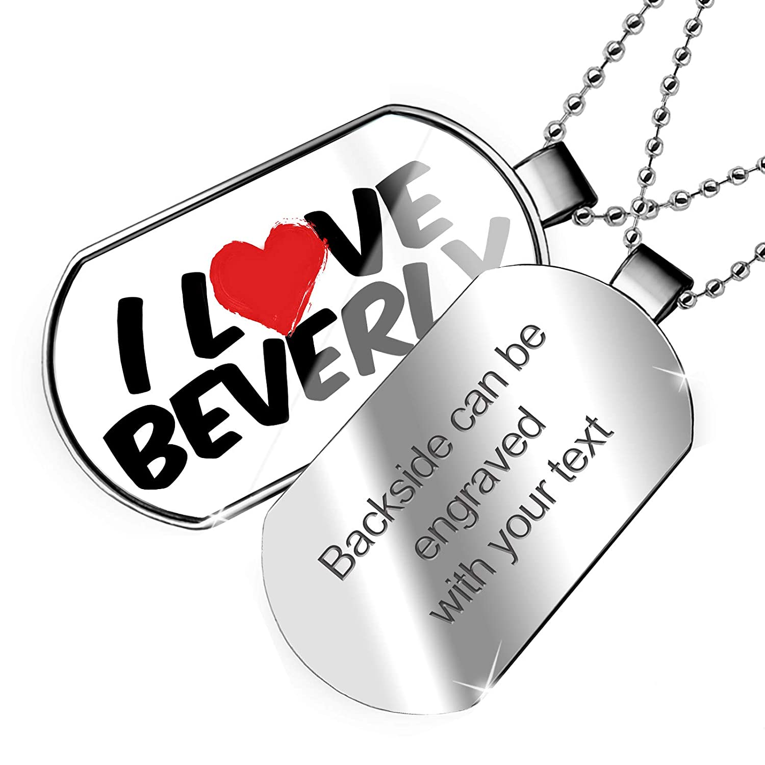 NEONBLOND Personalized Name Engraved I Love Beverly Dogtag Necklace