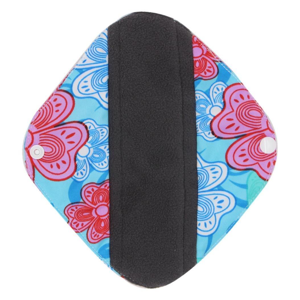 DEESEE(TM) Reusable Bamboo Cloth Washable Menstrual Pad Mama Sanitary Towel Pad (S, Sky blue) by DEESEE(TM) (Image #3)