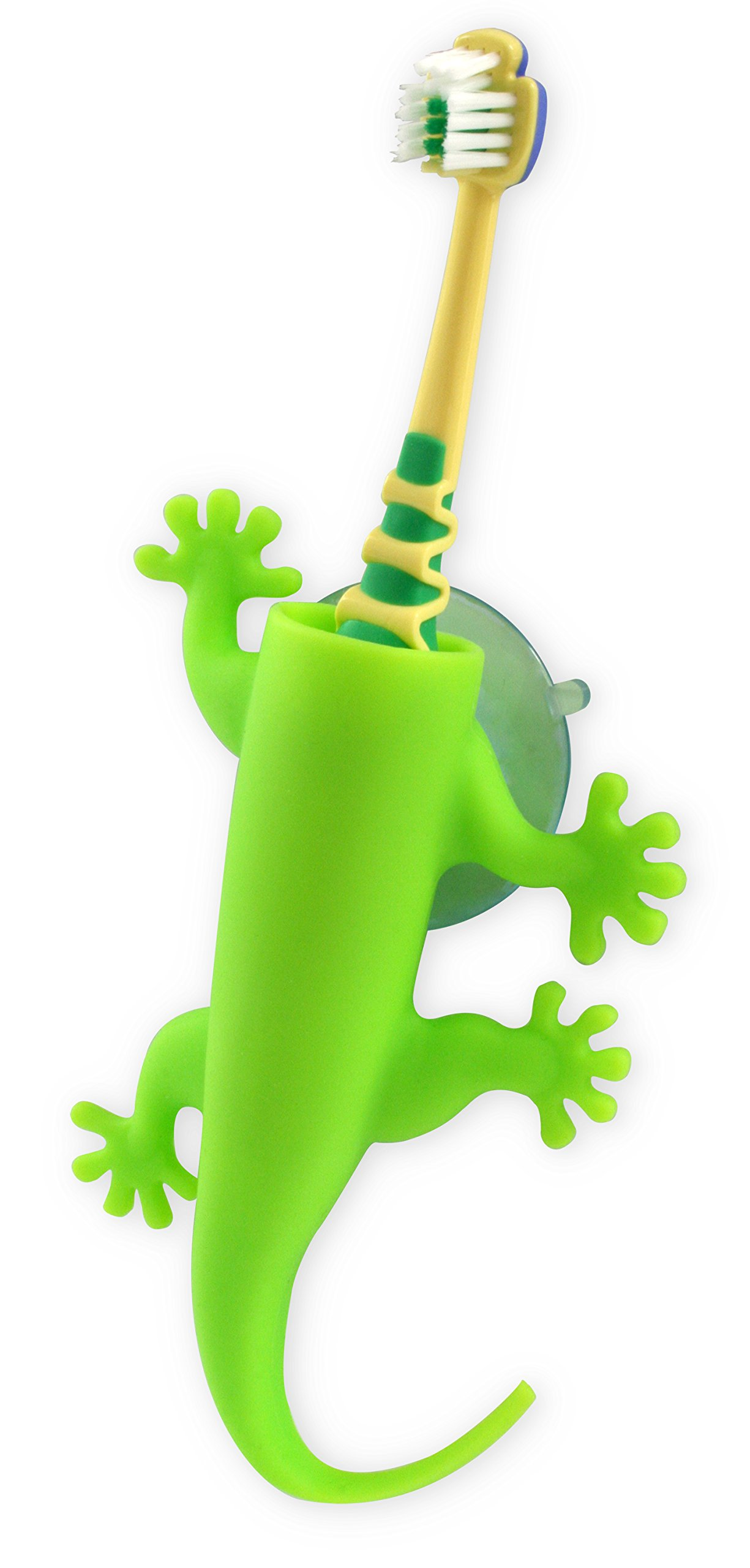 j-me Wall Mounted Toothbrush Holder - Kid's Bathroom Tidy, Larry The Lizard, Green by j-me