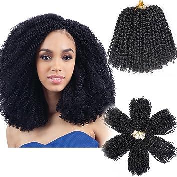3pcs Pack 10 Afro Kinky Twist Hair Crochet Braids Short Black Hairstyles Braiding Hair Synthetic