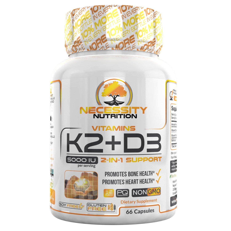 7e808be631e K2-D3 (MK-7) Vitamin Supplement 5000 IU Capsules Natural Calcium Absorption