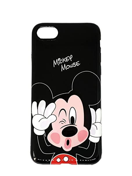 Onix Store Mirror Shiny Black Case With Mickey Mouse Disney Cartoon Characters Protective Back Cover For Iphone Iphone Xs Max