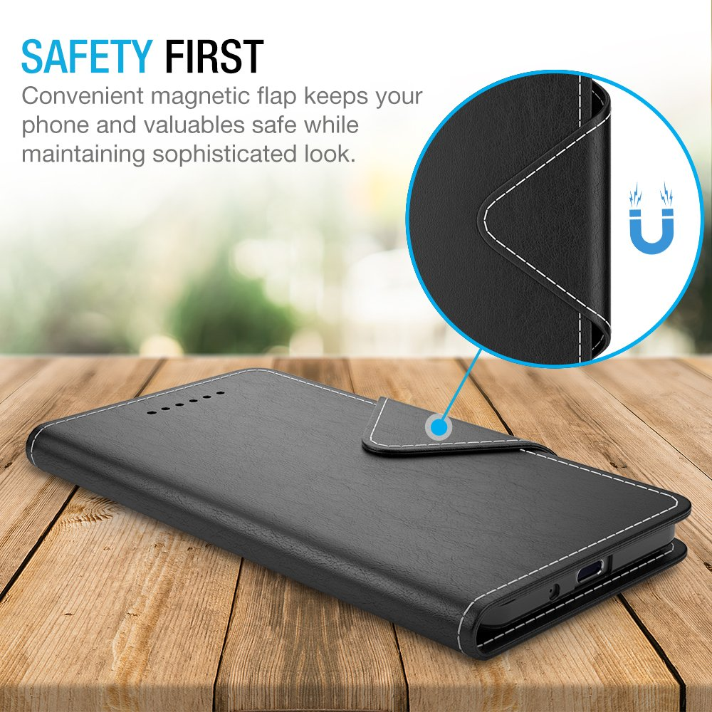 Maxboost Google Pixel 2 XL Wallet Case, [Folio Style] Premium Google Pixel 2 XL Card Cases Stand Feature [Black] Protective PU Leather Flip Cover with Card Slot + Side Pocket Magnetic for Pixel 2 XL by Maxboost (Image #3)