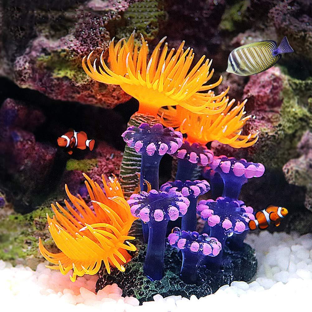 Coral Artificial, Planta de simulación Silicona Luminosa Anémona de mar de Coral para decoración de Paisaje de Acuario de Peces Adornos: Amazon.es: ...