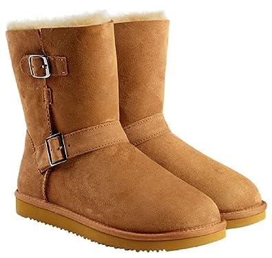b7c335e69e32c Amazon.com | Kirkland Signature Womens Sheepskin Shearling Buckle Boots (6,  Chestnut) | Boots