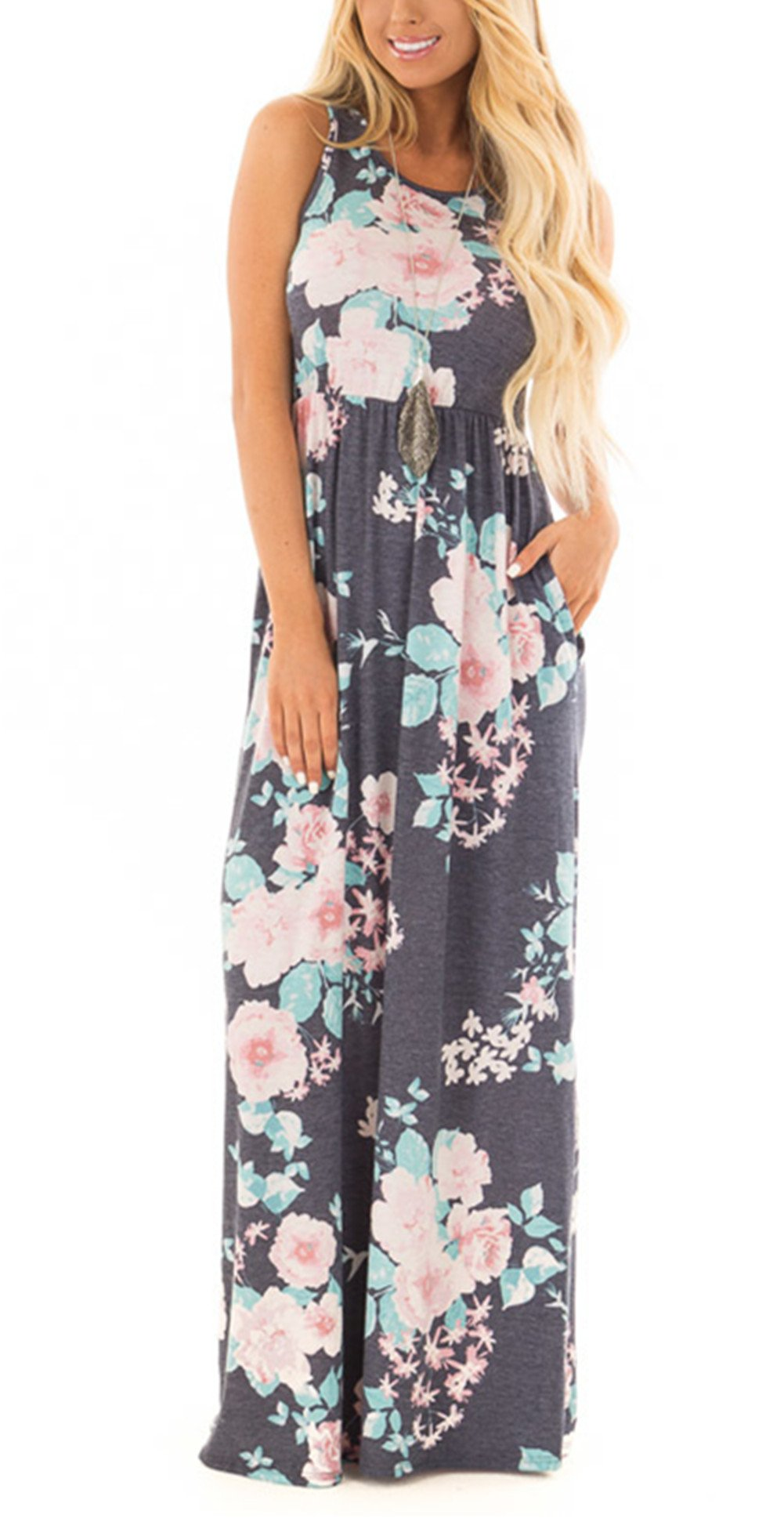 ZZER Women's Sleeveless Floral Racerback Loose Swing Casual Tunic Beach Long Maxi Dresses with Pockets (GreyFlower,L)