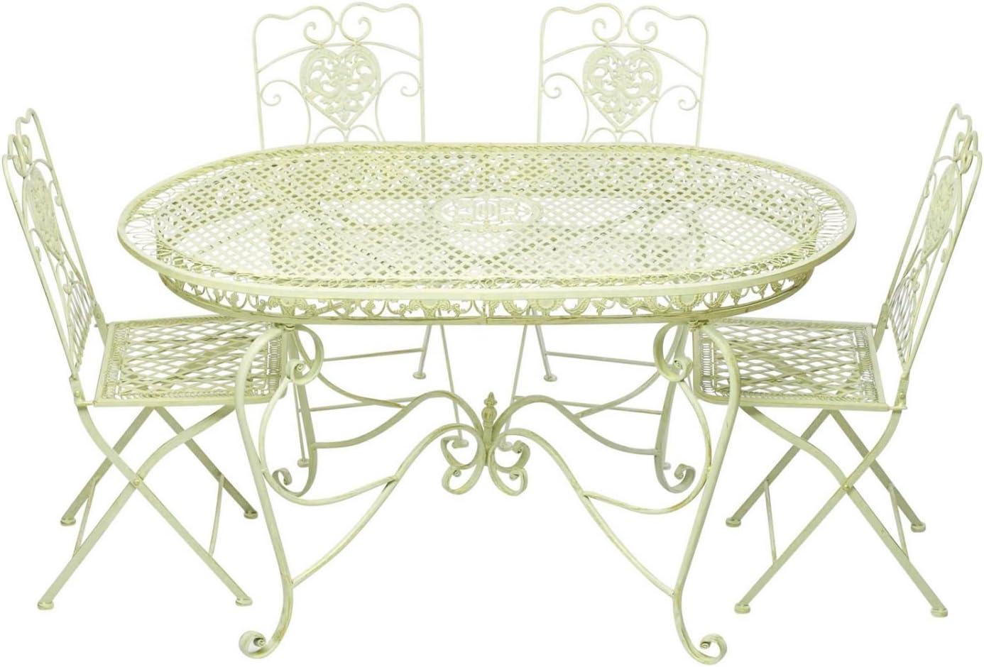 Garnitur Gartentisch 4 Stühle creme weiss Eisen Gartenmöbel Antikstil Nostalgie