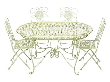 Tavolo Giardino Ferro Bianco.Aubaho Set Tavolo Da Giardino 4 Sedie In Ferro Bianco Crema Mobili