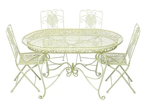 Tavolo Giardino Ferro Bianco.Aubaho Set Tavolo Da Giardino 4 Sedie In Ferro Bianco Crema