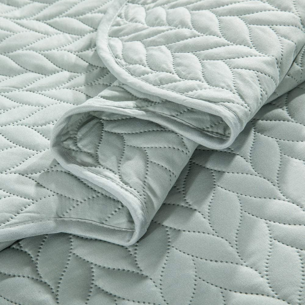 Mint Green, Double MOONLIGHT20015 Quilted Bedspread Throw 2 pillow shams for Bedroom Decor Reversible Coverlet Embossed Quilt with Matt Finish Set of 3