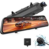 """WOLFBOX 2.5K Mirror Dash Cam with GPS, 10"""" Full Touch Screen Rear View Mirror Camera with Waterproof Backup Camera, Dual Dash"""