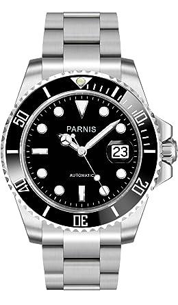 PARNIS 2039 BRAND reloj automático caballero cristal de zafiro acero inoxidable Ø40 mm 5bar mecanismo de marca indicador de fecha marco cerámico: Amazon.es: ...