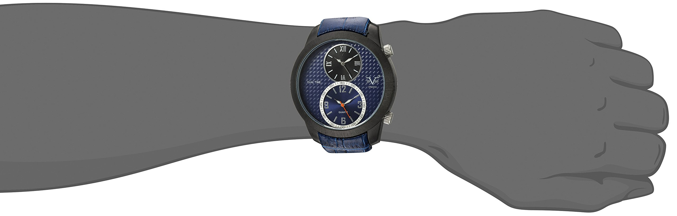 V19.69 Italia Men's Quartz Metal and Leather Casual Watch, Color:Blue (Model: 37VM103201A) by Wrist Armor (Image #2)
