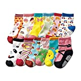Bebedou Girls socks pink yellow 12 Pairs Baby Infants Toddler Socks Fun design Colored Socks Anti-skid Cotton Baby gifts Baby shower