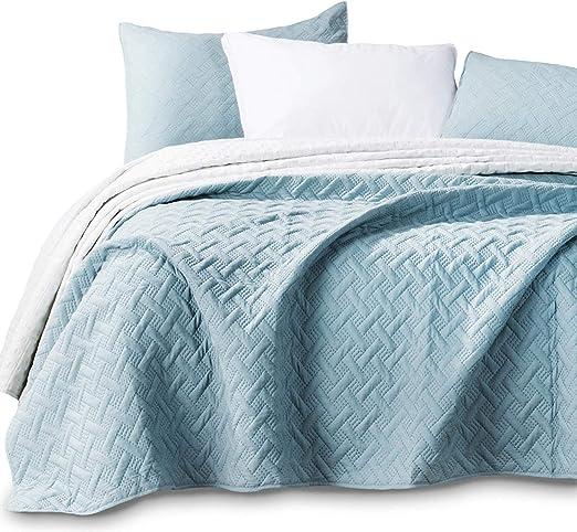 2 Shams Aqua Green//Fairest Jade KASENTEX KXW1803-GN Stonewashed Coverlet Quilt Set Lightweight Bedding Full//Queen