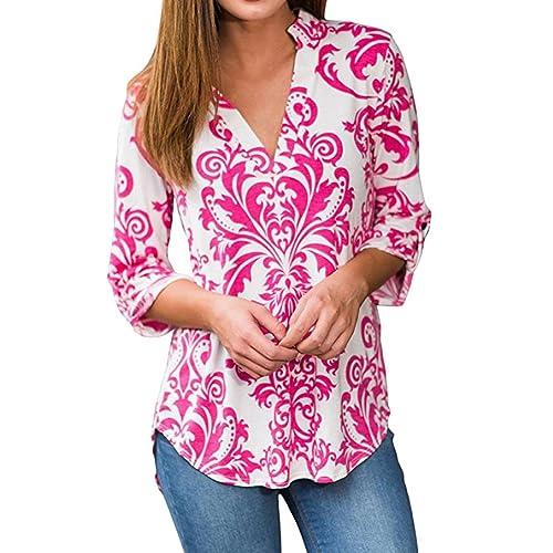 SHOBDW Blusas de mujeres de otoño atractivas del impresión de la camiseta de manga larga de la Camiseta de impresión de Tops