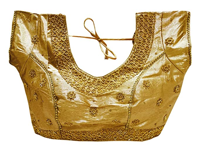 PEEGLI Blusa Elegante con Cuentas Acolchadas para Mujeres Fiesta India Ready Saree Choli