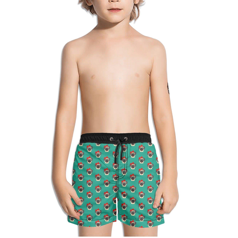 Juliuse Marthar Pug with Bow Green Swim Trunks Quick Dry Beach Board Shorts for Boys