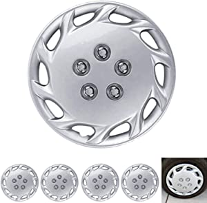 """BDK Wheel Guards – (4 Pack) Hubcaps for Car Accessories Wheel Covers Snap Clip-On Auto Tire Rim Replacement for 14 inch Wheels 14"""" Hub Caps (Spiral Spokes)"""