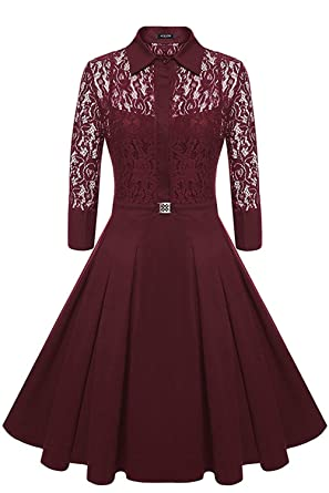 Avril Dress Womens Vintage 1950s Style Floral Lace Long Sleeve Party Cocktail A-line Dress