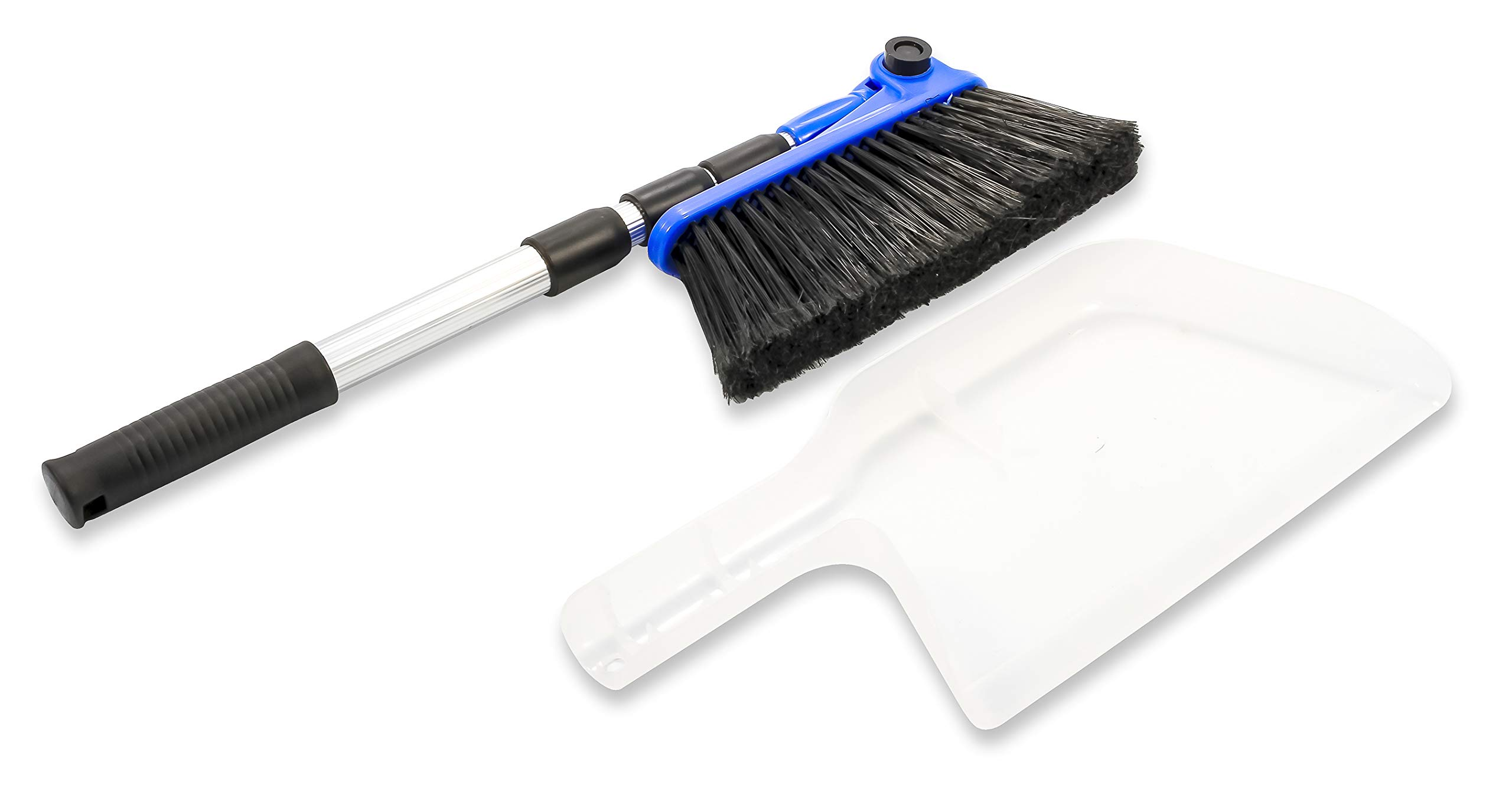 """Camco Mfg 43623 Adjustable RV Broom & Dustpan 3 Adjusts to different angles Dustpan clips onto broom handle for storage 52"""" long broom telescopes down to just 24"""" for compact storage"""