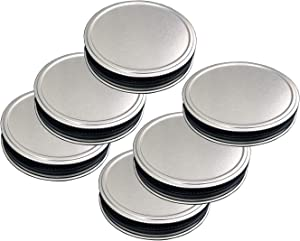 ThinkChances Rust Resistant Stainless Steel Regular Mouth Storage Lids Mason Jar Caps with Reusable Silicone Seals for Transform Mason Ball Canning Jars (6 Pack, Regular Mouth)