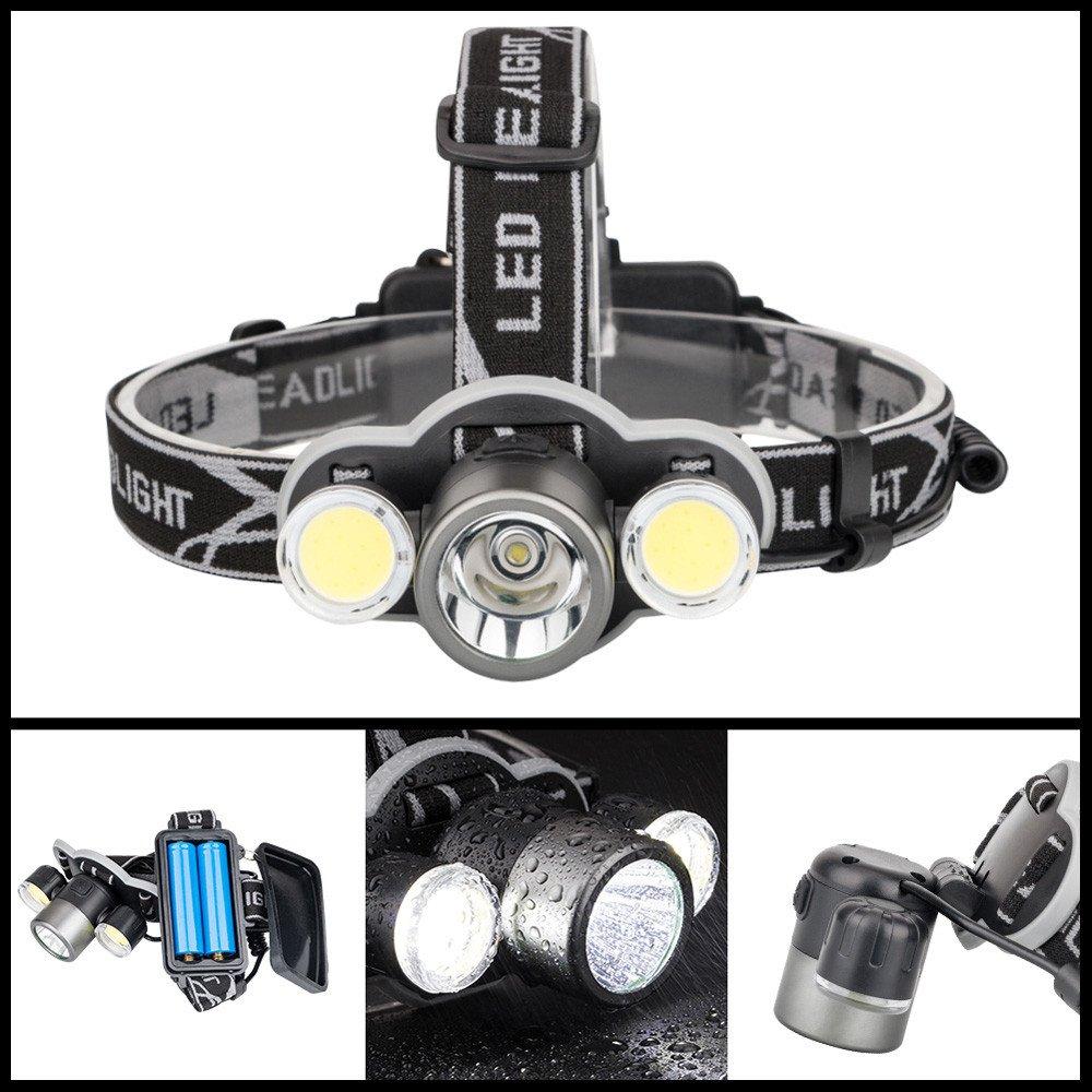 Linterna Frontal Led Alta Potencia Recargable USB y 5 Modos Impermeable Para Camping Pesca Ciclismo Carrera Caza (no incluida Batería) Damark(TM)