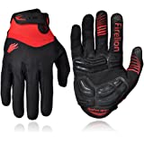 FIRELION Cycling Gloves Bike Bicycle Gloves - Breathable Gel Pad Shock-Absorbing Anti-Slip - MTB DH Road Touch Recognition Full Finger Gloves for Men/Women