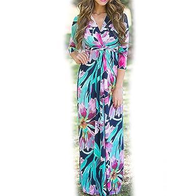 Femme Vestidos Half Sleeve Boho Floral Printed Women Long Maxi 1113 Green S