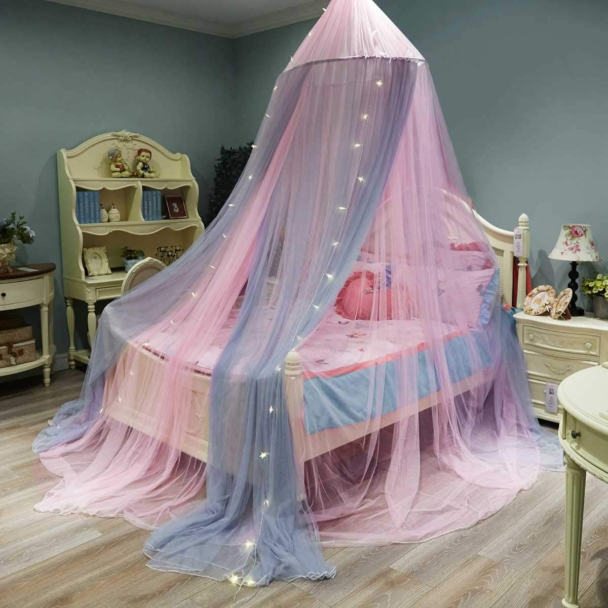 for 0.9M GLXQIJ Large Romantic Girls Princess Mosquito Net Round Dome Curtain Bed Canopy Lace Tent Bedding 2M Bed Universal Size,Orange+Gray