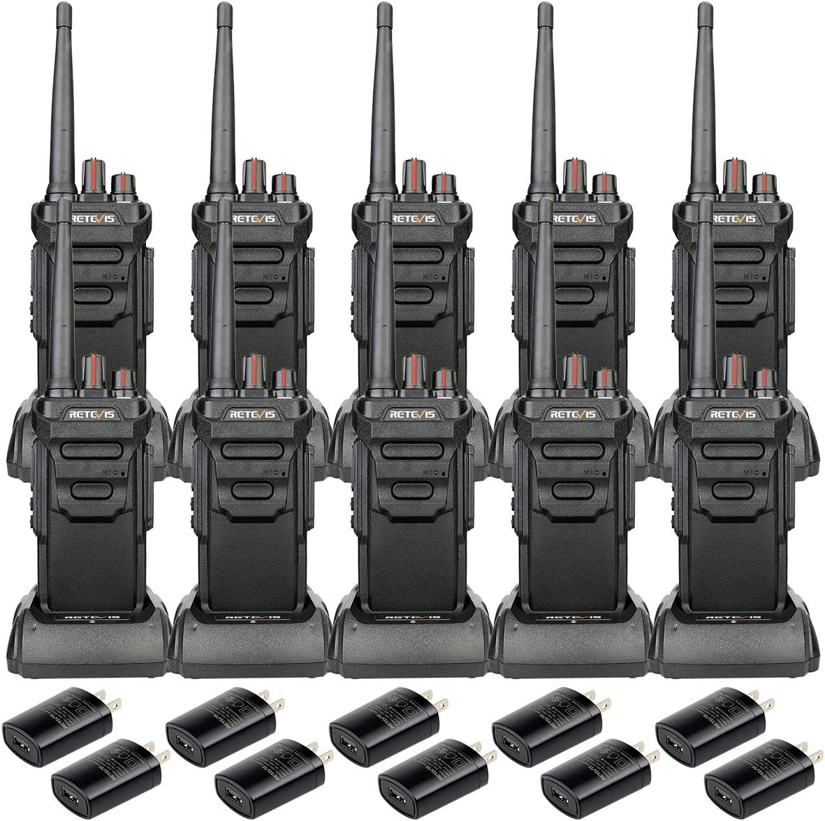 Case of 10,Retevis RT48 IP67 Waterproof Walkie Talkies Rechargeable, Long Range 2 Way Radio for Adults,Commercial Warehouse Construction