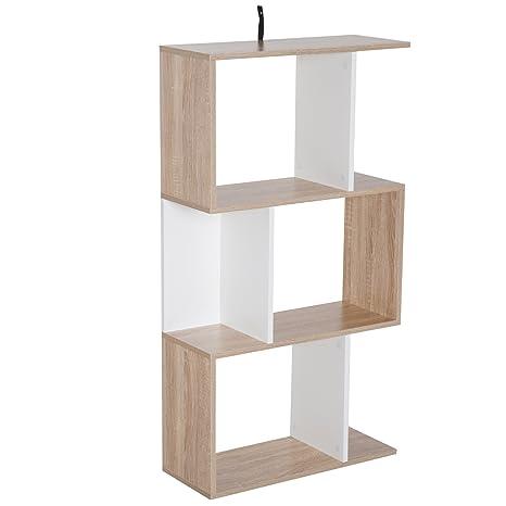 homcom Libreria di Design Scaffale Ufficio Legno Moderna 3 Ripiani ...