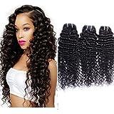 Maxine Hair 9A Grade Virgin Brazilian Curly Hair Deep Wave 3 Bundles, Unprocessed Brazilian Human Hair Weave Extensions 100+/-5g)/pc(12 14 16)