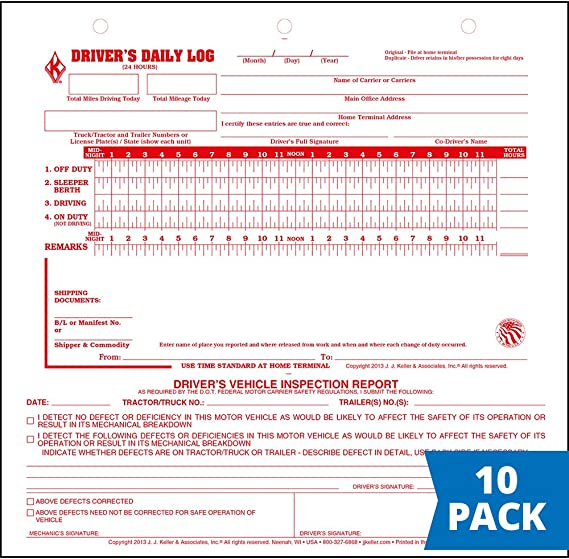 Mid-Size Driver Daily Log 10-pk. with Simplified Driver Vehicle Inspection Report - Shrinkwrapped Loose-Leaf Format