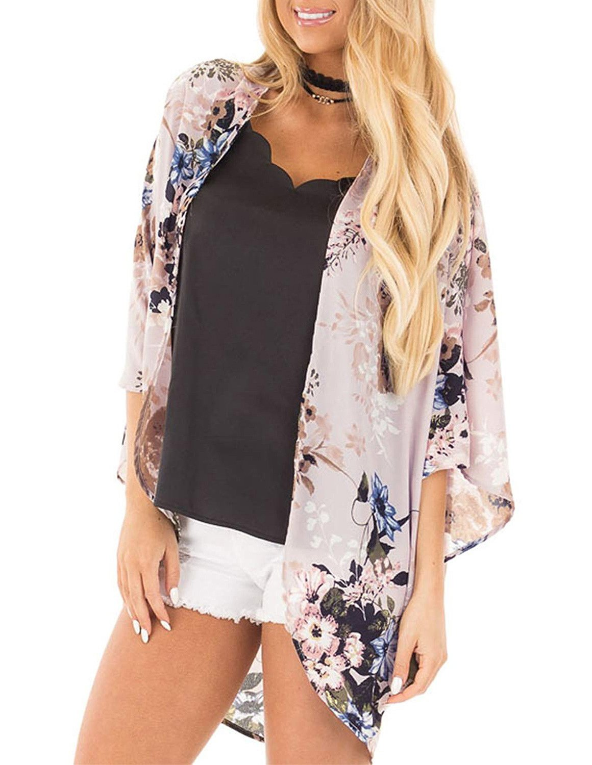 ChainJoy Cover up Swimwear Women Plus Size Casual Half Sleeve Shawl Sexy Beach Swimsuit Blouse