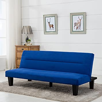 belleze convertible sofa adjustable futon bed legs and upholstered in rich blue microfiber amazon    belleze convertible sofa adjustable futon bed legs and      rh   amazon
