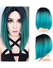 """12"""" Ombre Color Silky Straight Short Wig Cap Synthetic Hair Bob Wigs for Blue Women (1B#/blueCA)"""