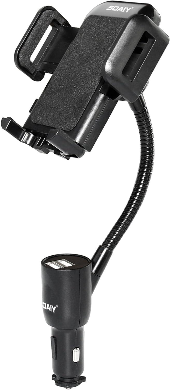 SOAIY-Soporte Universal 3-en-1 para Coche con Cargador Dual USB, batería de automóvil LED 3.1A, Compatible con Smarthpones, iPhone, Samsung