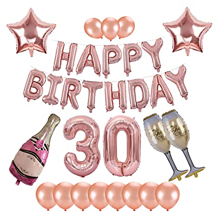30th Birthday Decorations Kwayi Rose Gold Themed Supplies With HAPPY BIRTHDAY Letter Large