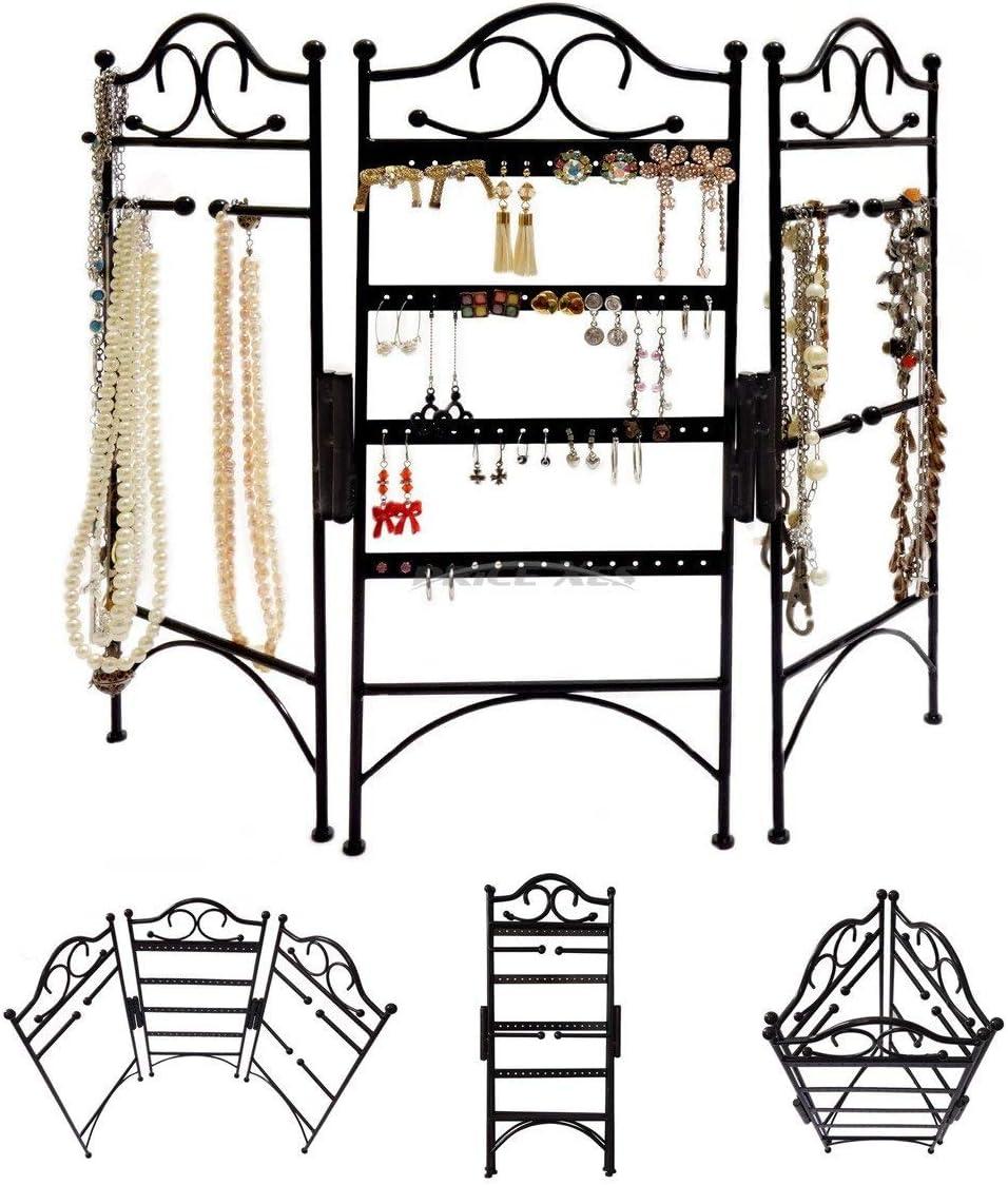 Organizador de joyas plegable de 3 paneles gran capacidad soporte de exhibici/ón de joyer/ía para boutiques tiendas de regalos negro para colgar pendientes pulseras collares y otros accesorios