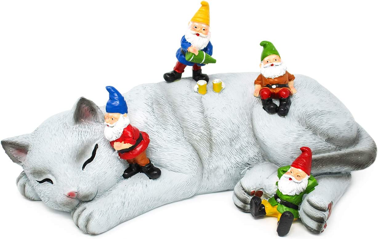 Hilarious Home Funny Outdoor Lawn Garden Cat Gnome Statue Gift