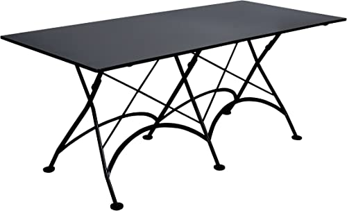 Mobel Designhaus French Caf Bistro Folding Table, Jet Black Frame, 32 x 72 x 29 Height, Rectangular Steel Metal Top