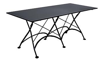 Mobel Designhaus French Café Bistro Folding Table, Jet Black Frame,  32u0026quot; X 72u0026quot