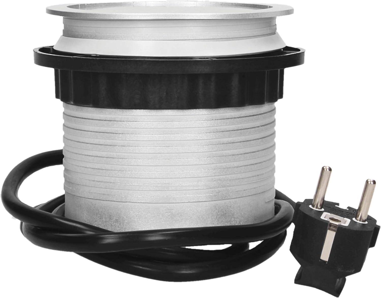GS Bloc Prise Encastrable Plan De Travail 3 Prises 2x USB 3650W /Ø10cm avec 1,5m Schuko kabel Prise Allemande ORNO OR-AE-1342