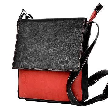 5398ccc982e06 DEVRAKH Damen Leder-Tasche echt Nappa Leder Handtasche Umhängetasche  Schultertasche klein edles Design Leder-