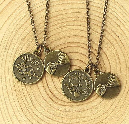 Custom Personalized Zodiac Necklace Friendship Necklace